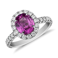 Pink Sapphire and Micropavé  Diamond Halo Ring in 18k White Gold