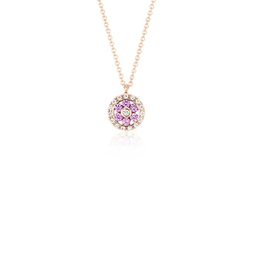 Pink Sapphire and Diamond Floral Pendant in 14k Rose Gold (1.55mm)