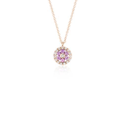 Colgante pequeño de diamante y zafiro rosado con motivo floral en oro rosado de 14k (1,5mm)