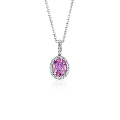Pink Sapphire and Micropavé Diamond Halo Pendant in 14k White Gold (8x6mm)
