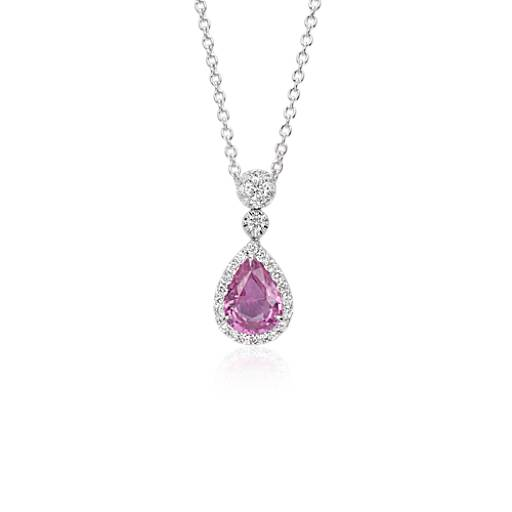 Pink Sapphire Diamond Halo Drop Pendant in 18k White Gold (8x6mm)