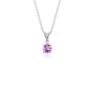 NUEVO. Colgante de diamantes y zafiro rosado, en oro blanco de 18k (5mm)