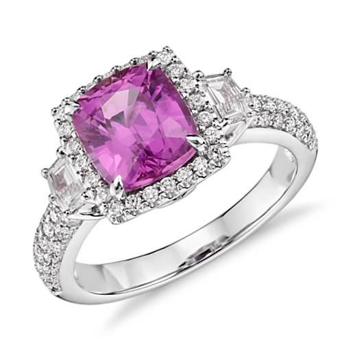 Cushion Cut Pink Sapphire with Diamond Halo Ring in 18k White Gold (2.69 ct. center)