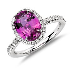 Pink Sapphire and Micropavé Diamond Ring in 18k White Gold (2.04 cts.)