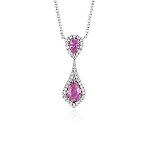Collar con colgante doble de zafiro rosado en oro blanco de 18k (8x6mm)