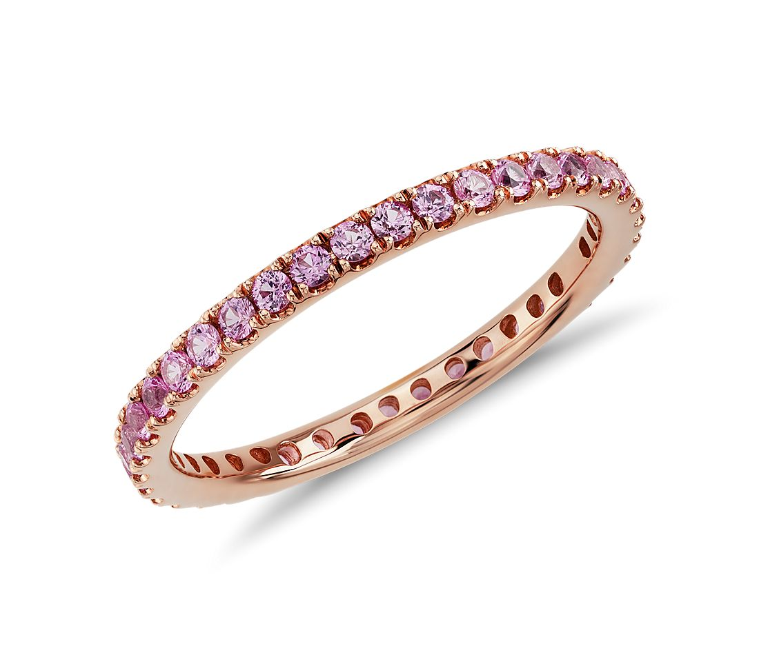 Pink Sapphire Eternity Ring in 18k Rose Gold