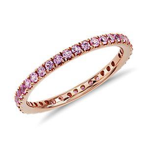 Bague d'éternité saphir rose pavé Riviera en or rose 18carats