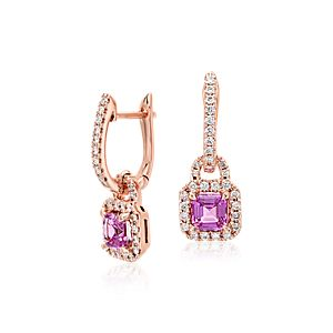 Pendants d'oreilles halo saphir rose en or rose 14 carats (4,5 mm)