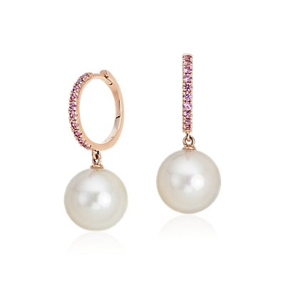 Pink Sapphire and Freshwater Cultured Pearl Hoop Earrings in 14k Rose Gold (9.5mm)