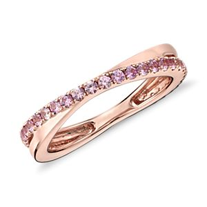 Pink Sapphire Infinity Eternity Ring in 14k Rose Gold (1.5mm)