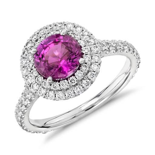 Bague double halo de diamants sertis pavé et saphir rose en or blanc 18 carats (0,80 ct) (5,3 mm)