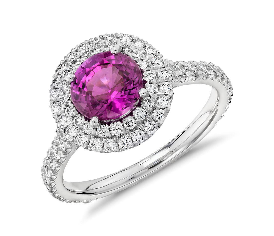 Bague double halo diamant serti pavé et saphir rose en or blanc 18 carats (0,80 ct) (5,3 mm)