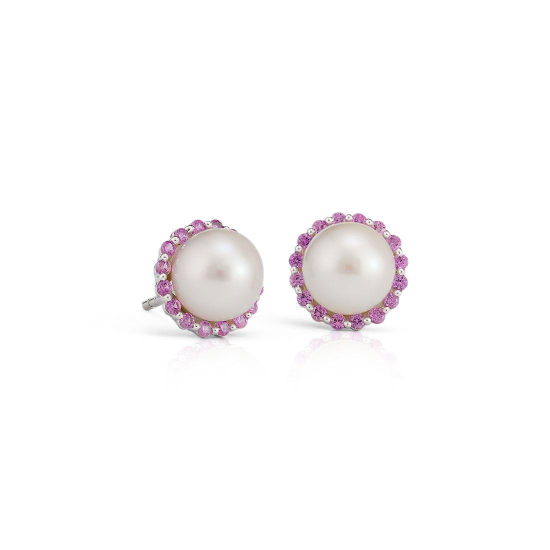 NUEVO. Aretes con halo de zafiros rosados y perlas cultivadas de agua dulce, en oro blanco de 14k (7mm)