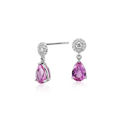 pink sapphire petite drop earrings in 14k white gold