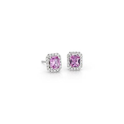 Radiant Pink Sapphire and Diamond Halo Stud Earrings in 14k White Gold (5x4mm)