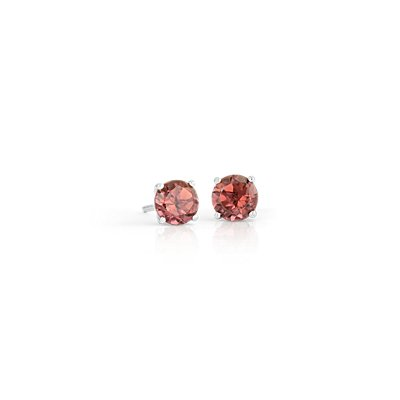 Pink Tourmaline Stud Earrings in 18k White Gold (5mm)