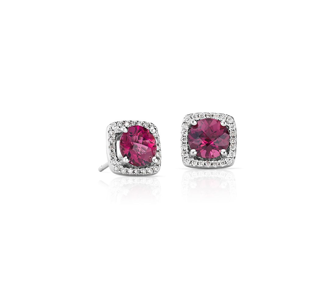 Pink Tourmaline and Diamond Cushion Stud Earrings in 14k White Gold