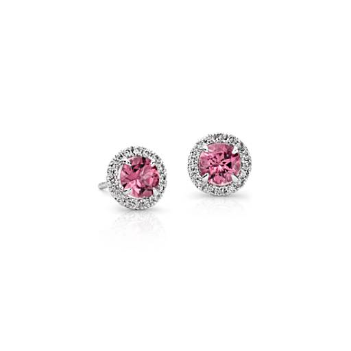 Pink Tourmaline and Micropavé Diamond Earrings in 18k White Gold (5mm)