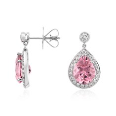 Pear Shaped Pink Tourmaline and Diamond Halo Drop Earrings in 18k White Gold