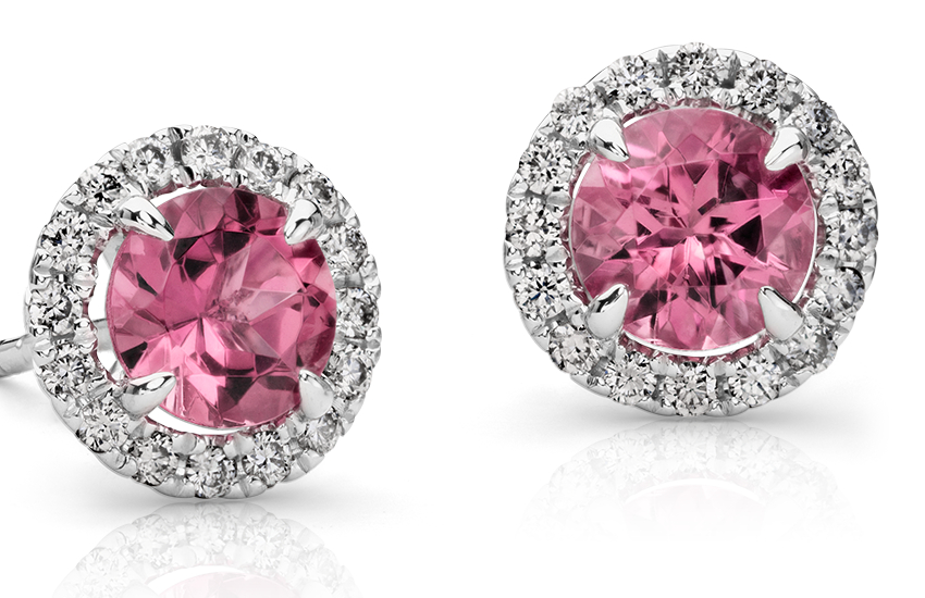 Pink Tourmaline and Micropavé Diamond Stud Earrings in 18k White Gold (5mm)