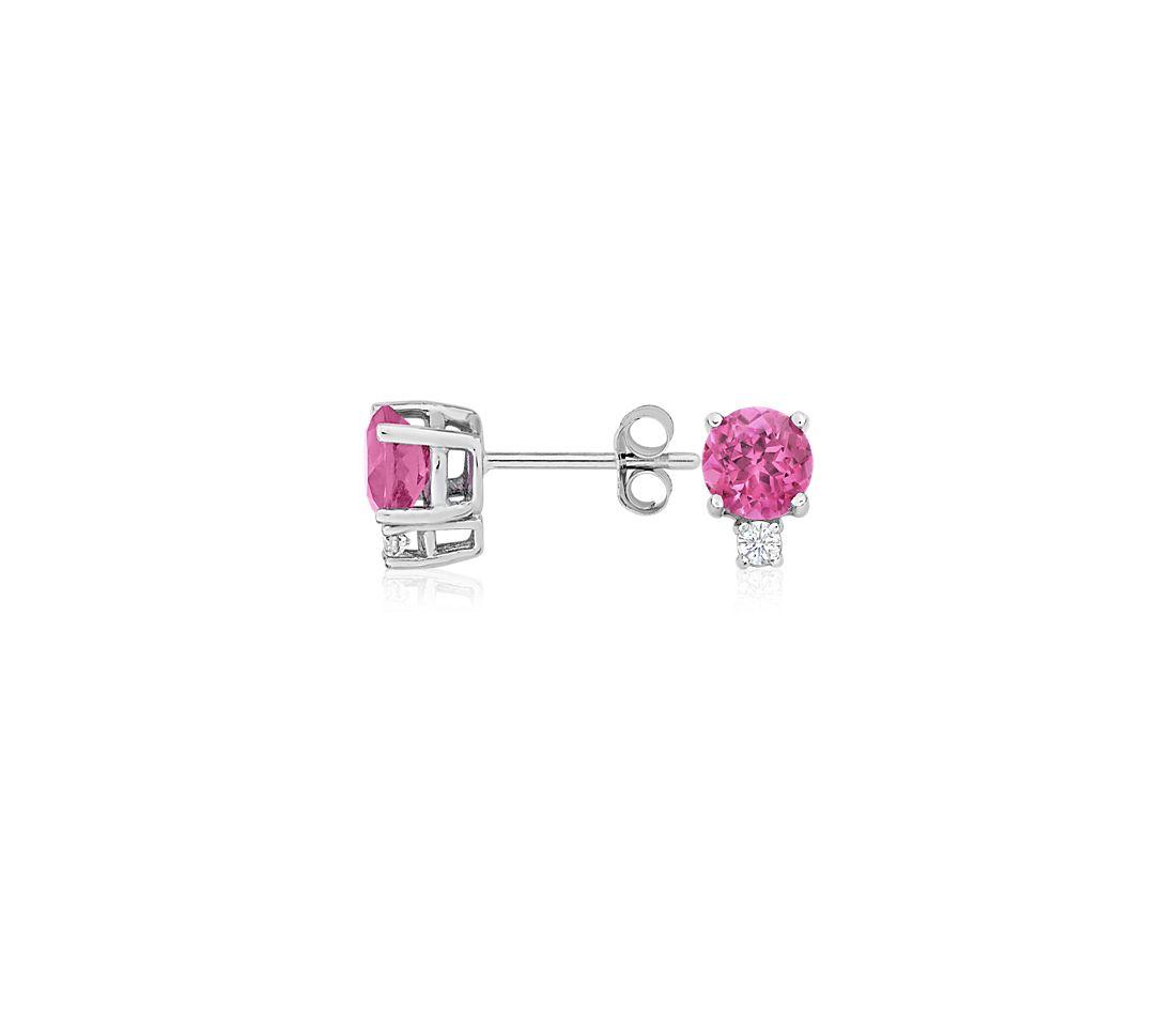 Aretes de diamante y turmalina rosada en oro blanco de 18 k (5mm)