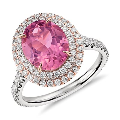 Bague double halo de diamants sertis pavé et tourmaline rose en or Rose et or Blanc 18 carats (2,91 ct au centre) (10x8 mm)