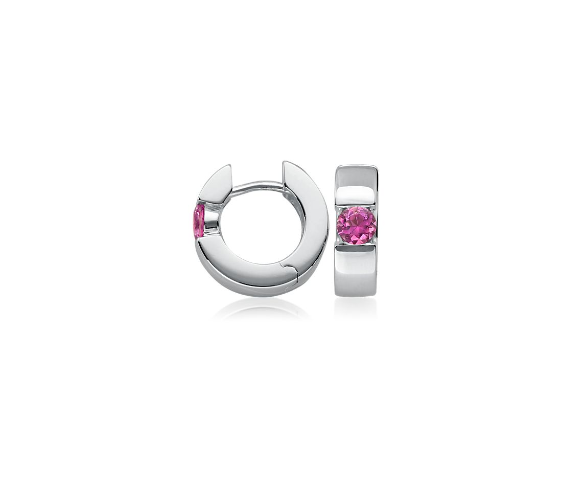 Pink Tourmaline Hinged Hoop Earrings in Sterling Silver