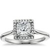 Plain Shank Princess Cut Halo Engagement Ring in 14k White Gold