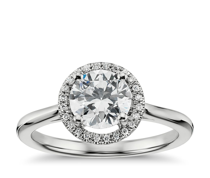 Plain Shank Floating Halo Engagement Ring in 14k White Gold