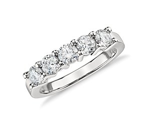 Blue Nile Signature Five Stone Diamond Ring in Platinum (1 ct. tw.)