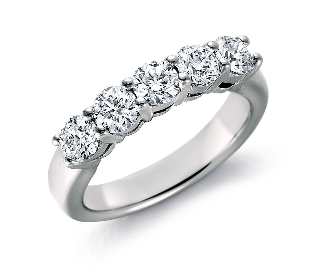 Blue Nile Signature Five Stone Diamond Ring in Platinum