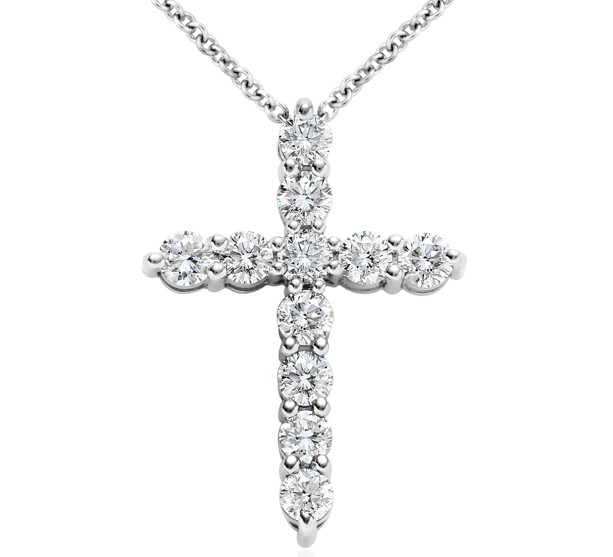 Diamond Cross Pendant in Platinum (1 ct. tw.)