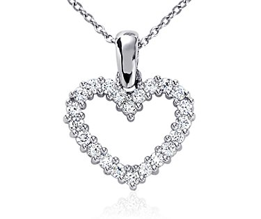 Diamond Heart Pendant in Platinum