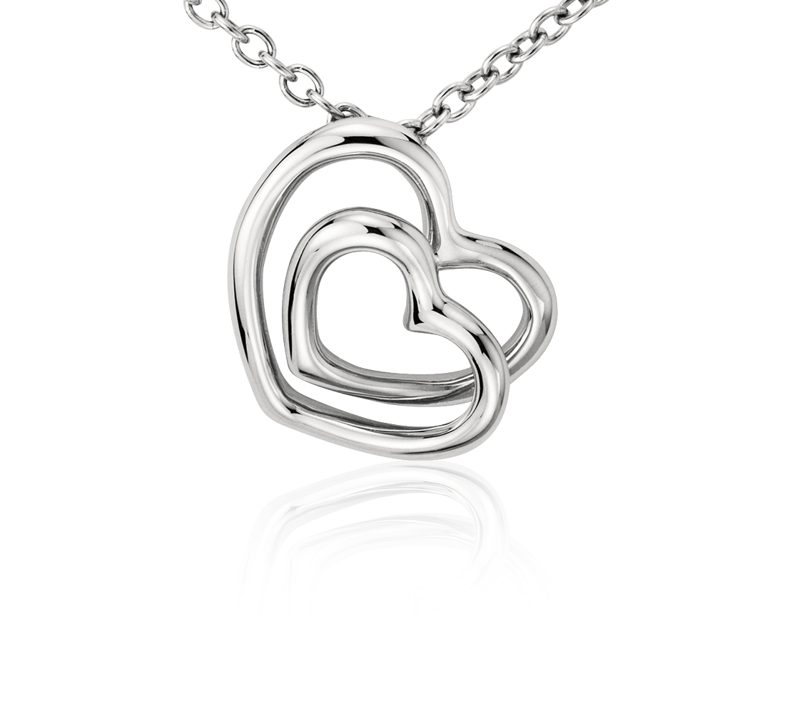 Duet Heart Pendant in Platinum