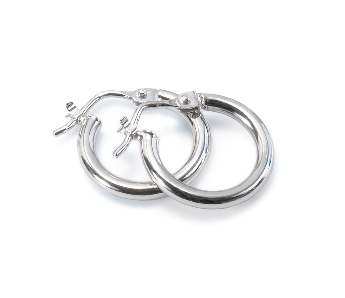 "Mini Hoop Earrings in Platinum (9/16"")"
