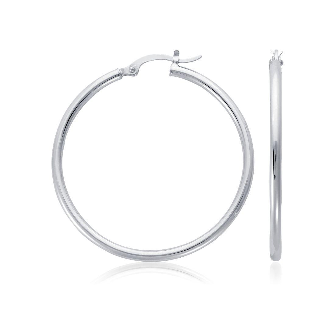 Hoop Earrings in Platinum (1 1/2