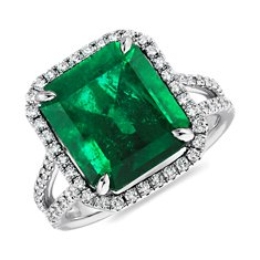Emerald Cut Emerald and Micropavé Diamond Ring in Platinum (6.28 ct.)