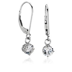 Four Prong Leverback Dangle Earrings in Platinum