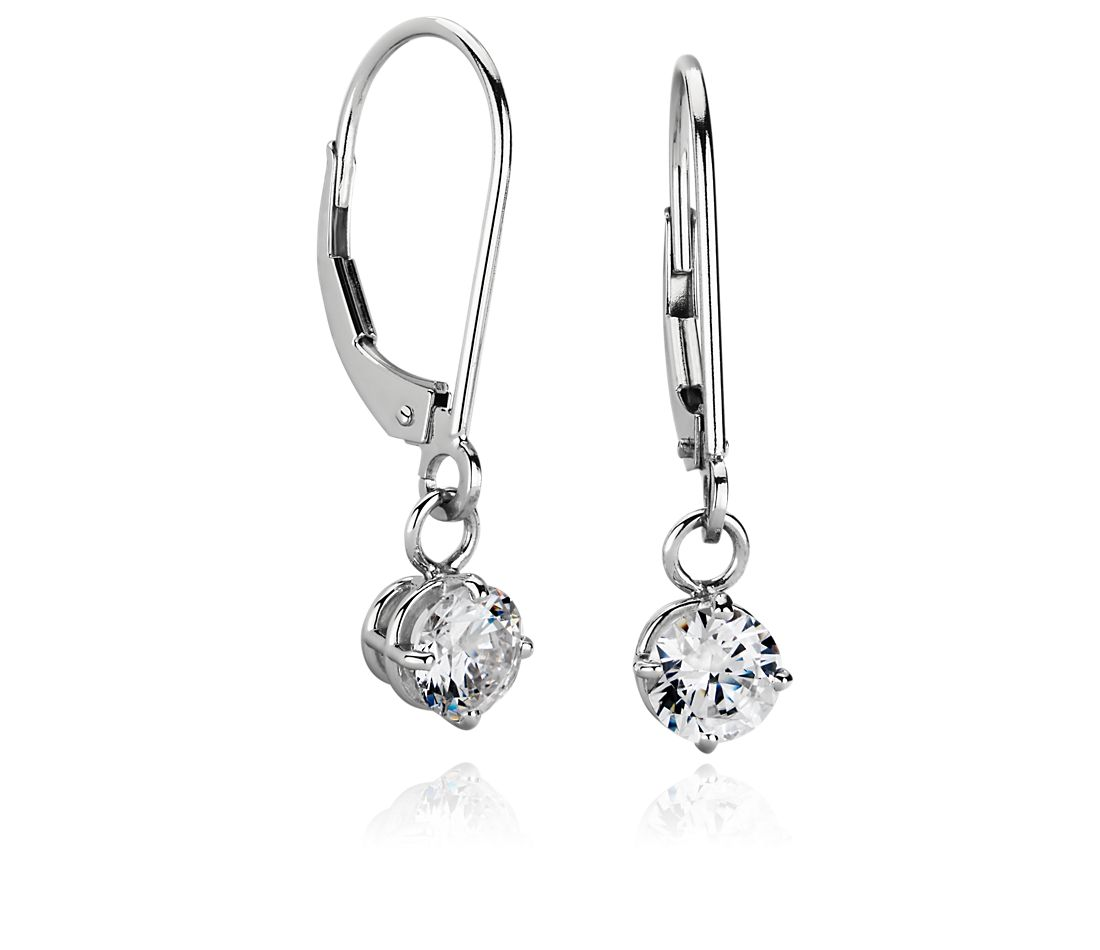 Four Prong Leverback Dangle Earrings In Platinum Blue Nile