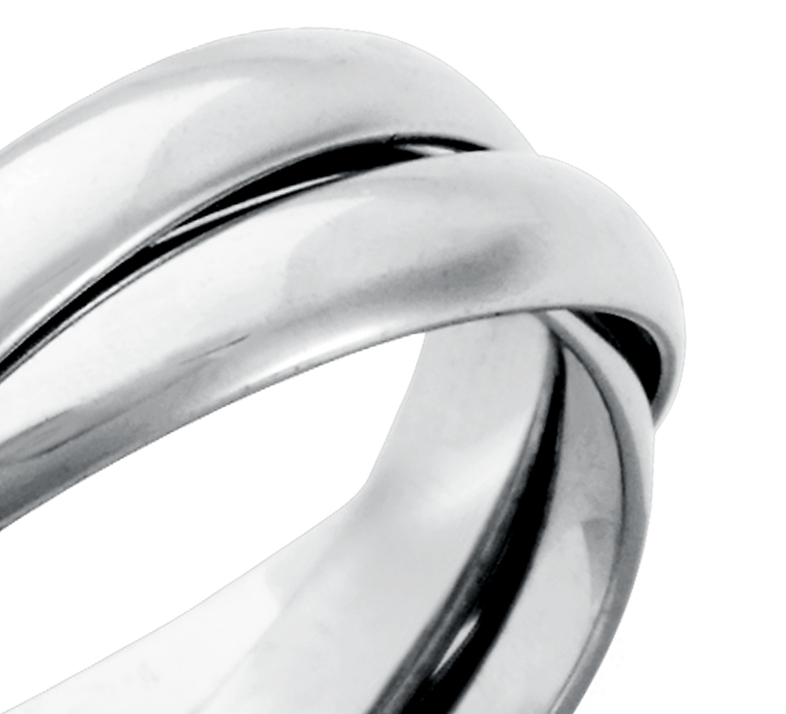 Triple Rolling Wedding Ring in Platinum (5mm)