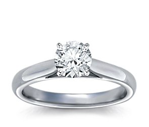 Tapered Cathedral Engagement Ring in Platinum