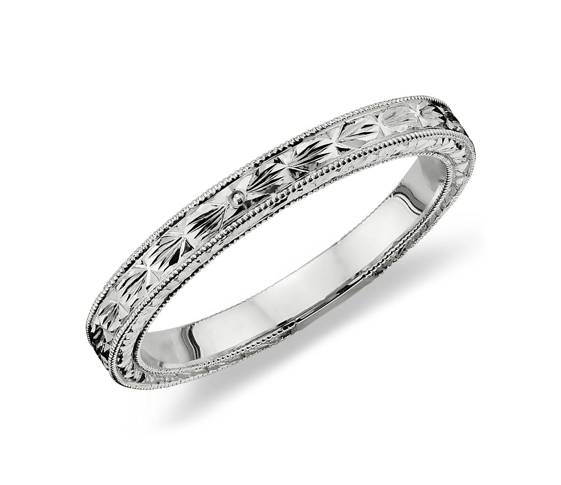 hand engraved wedding ring in platinum blue nile With engraved wedding rings
