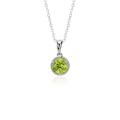 Peridot Rope Pendant in Sterling Silver (7mm)