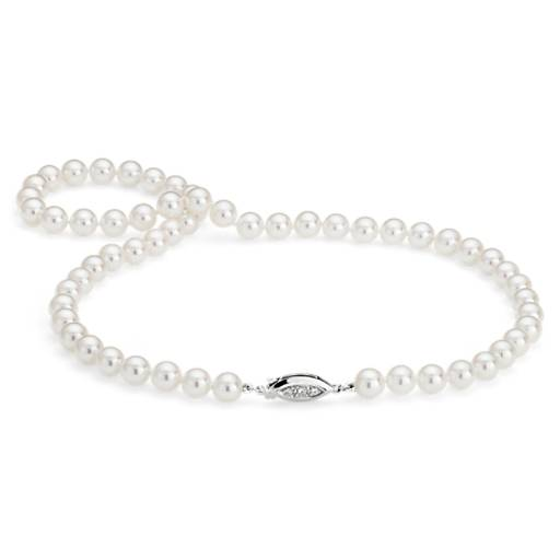 Premier Akoya Cultured Pearl Strand Necklace with Diamond Clasp in 18k White Gold (7.0-7.5mm)