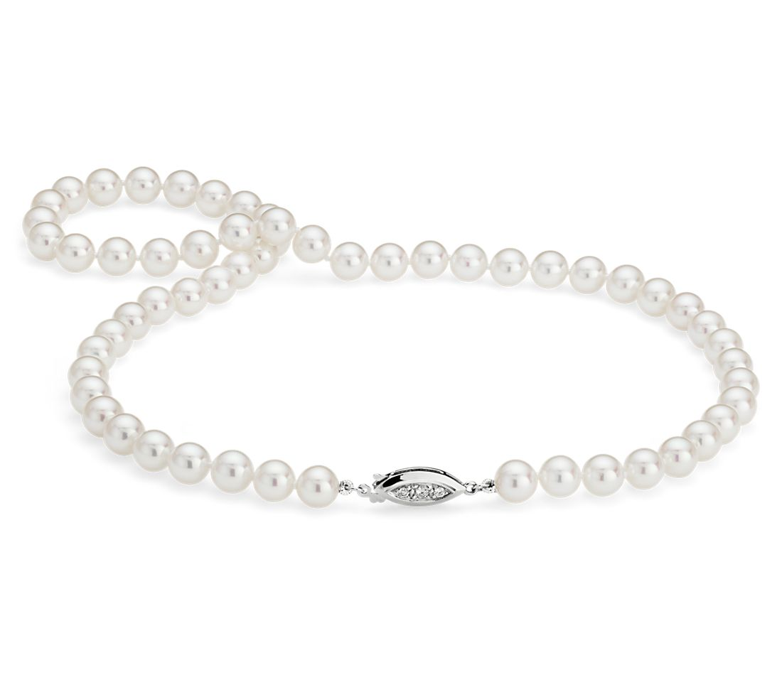 Collier en perles de culture d'Akoya de la plus haute qualité avec fermoir en diamant en or blanc 18 carats (7,0-7,5 mm)