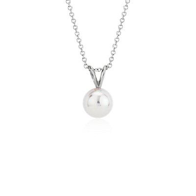 Pendentif perles de culture d'Akoya de la plus haute qualité en or blanc 18carats (8,0-8,5mm)