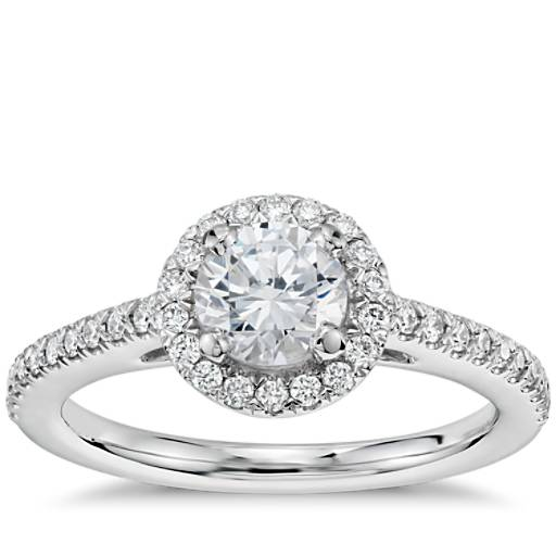 1/2 Carat Preset Classic Halo Diamond Engagement Ring in 14k White Gold