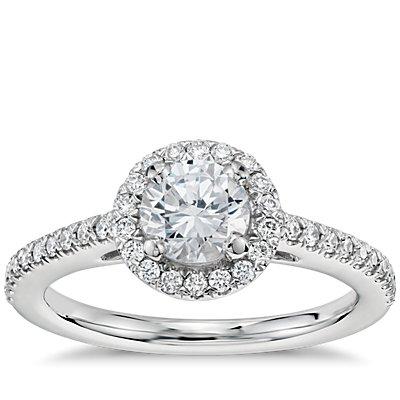 1/2 克拉14k 白金预镶嵌经典光环钻石订婚戒指