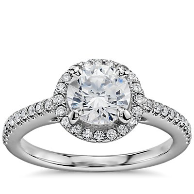1 Carat Preset Classic Halo Diamond Engagement Ring in 14k White Gold