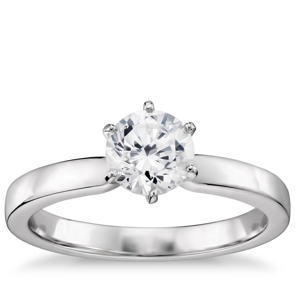1/2 克拉预镶嵌六分岔低圆拱内圈卜身设计单石订婚戒指 (14k 白金(2.5毫米))